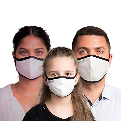 SONOVIA Family Pack (5) Face Masks : SonoMask 1 Men Face Mask Ear Loop + 1 Woman Mask Ear Loop + 3 Child Head Strap with Nose Clip Inside Adjustable Reusable Dual Layer Face Masks