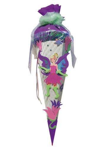 ROTH fertig gebastelte Schultüte - Fee Elfe 85 cm - 6 - eckig - mit Holzspitze Zuckertüte Schmetterling