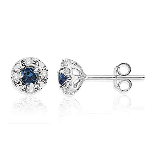 NATALIA DRAKE 1/4 Cttw Blue and White Tiny Diamond Stud Earrings for Women in Rhodium Plated Sterling Silver Second Piercing (Color I-J / Clarity I1-I2)