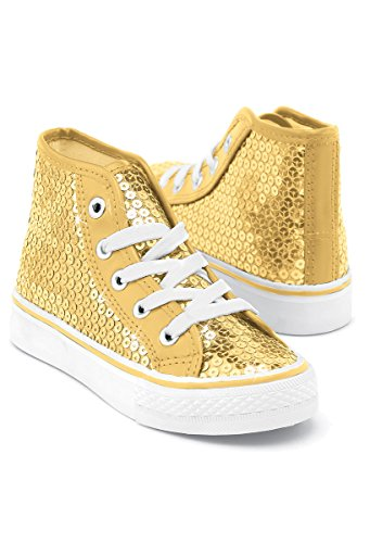 Balera Sequin High Top Dance Sneakers Gold 12AM