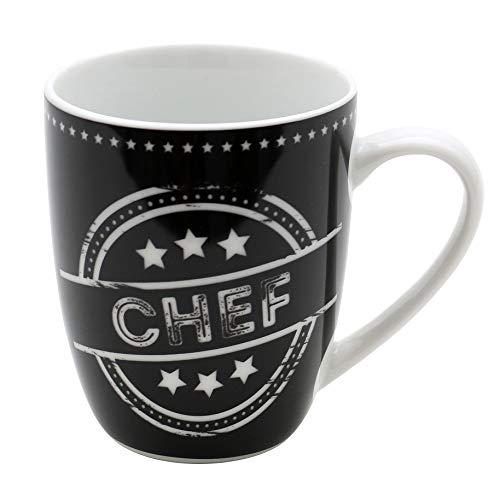 Dekohelden24 Kaffeebecher/Tasse aus Porzellan, Motiv: Chef. Größe H/Ø: 9,8 x 8,2 cm, Fassungsvermögen 250 ml, Spülmaschinengeeignet.