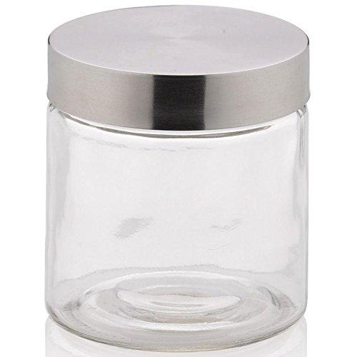 kela 17870 Bera Frischhaltedose aus Glas/Edelstahl, transparent/silberfarben, 11 x 11 x 12 cm 0,8 l