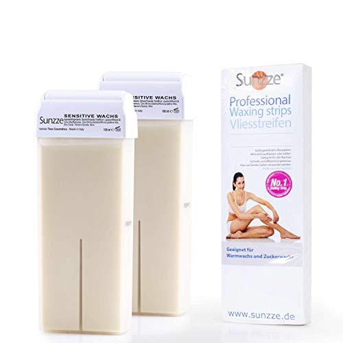 Sunzze Cartuchos de cera Roll-On con tiras de fieltro para depilación con cera caliente en axilas, brazos, piernas y zona íntima (sensitiva)