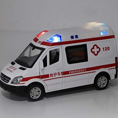 Coche de Juguete para Ambulancia, Coche de Juguete de Metal Fundido a presión a Escala 1:36 con Efectos de Sonido de luz y Sirena