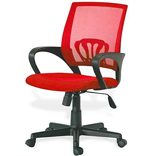 BAKAJI Kite - Silla de escritorio giratoria con reposabrazos y ruedas, altura regulable (rojo)