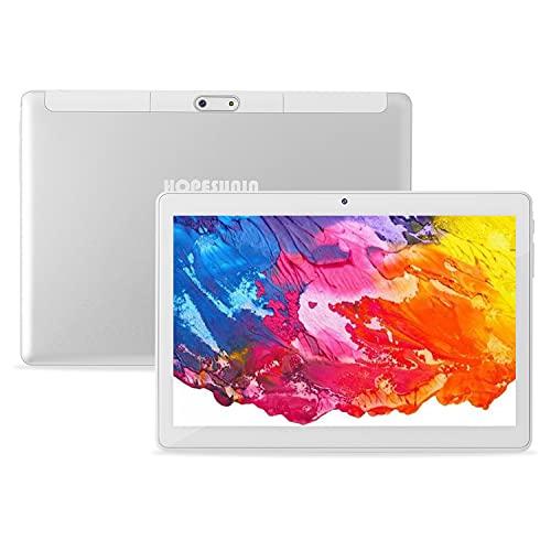 HOPESUNIN Tableta Android de 10 Pulgadas, Equipada con Android 10.0 ultrarrápida, 4GB RAM, 64GB ROM-certificación gsm de Google, ultradelgada 8000 mAh/WiFi / 5 MP 8 MP/Type-C (Blanco)