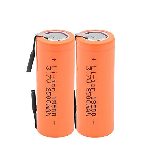 THENAGD Batería De 3.7v 2500mah 18500, Litio con 2 PestañAs De Soldadura 18500 Celda De Iones De Litio para Linterna Led Mod MecáNico 2pieces