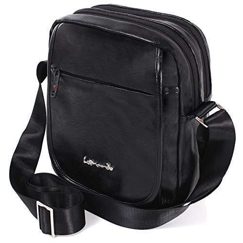 Borsello da uomo con tracolla, LEONARDO LEO50520 Borsa Messenger per iPad Mini e Tavoletta PC da 9,7 pollici, Borsello Viaggio Sport Lavoro (Nero, Pelle PU)