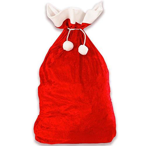 Jonami Weihnachtssack, XXL Nikolaussack Weihnachtsmann Sack Santa Sack Geschenkesack Weihnachtsmannsack für Geschenke Rot und Weiss (70 x 110 cm)