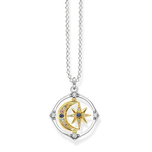 Thomas Sabo Women's Necklace with Star and Moon Pendant, Gold 70 cm