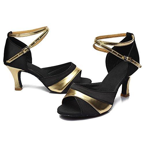 HROYL Damen Tanzschuhe/Latin Dance Schuhe Satin Ballsaal Modell-D7-806 Gold 36 EU - 4