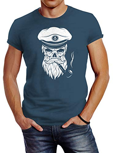 Neverless Herren T-Shirt Totenkopf Kapitän Captain Skull Bard Hipster Original Spirit Seemann Slim Fit Denim Blue XL