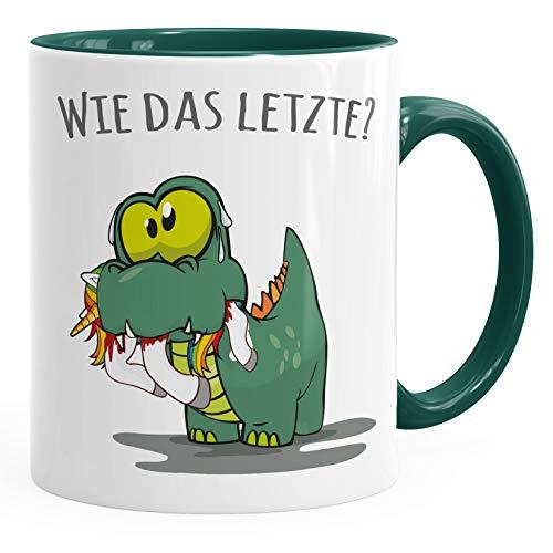 MoonWorks® Kaffee-Tasse Fun Motiv kleiner Dino frisst Einhorn Spruch