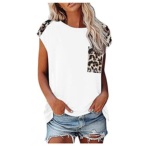 WORMENG Damen Casual Fashion Sommer O-Ausschnitt T-Shirt Einfarbiges Kurzarm Leopard Tasche Tops T-Shirt Loose Tank Top