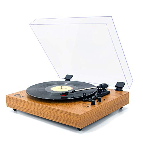 Retro Record Player for 33/45/78 RPM Vinyl Records,Bluetooth Belt-Drive Turntable with Built-in Stereo Speakers,Yellow