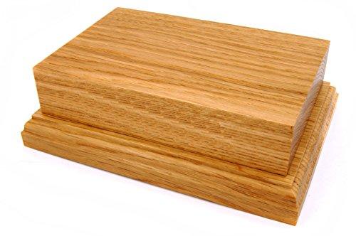 Pedestal de madera maciza de roble para exposición, de 15,2 x 10,2 cm , madera, marrón, NO PLAQUE
