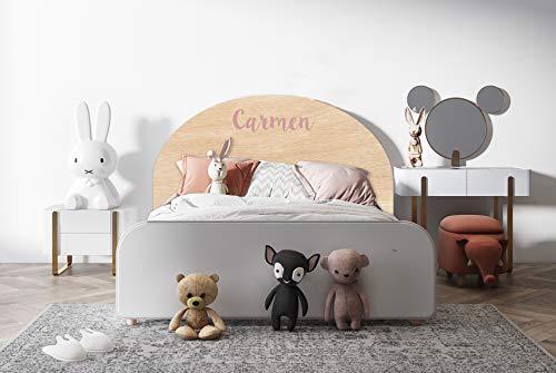 Deco&Fun - Cabecero Infantil Cama Madera Impreso Personalizable Round 100x60cm para Cama de 90 -Cabecero Original