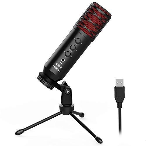 USB Mikrofon, TECELKS Kondensator Mikrofone mit Stativ, Mit Gain und Reverb Einstellfunktion, für Streaming, Podcasting, YouTube, Voice-Over, kompatibel mit Laptop Desktop