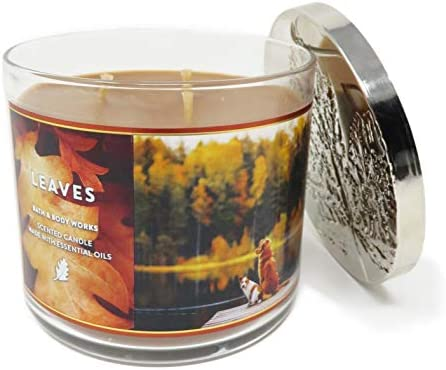 Bath and Body Works White Barn Leaves 3 Wick Candle 14 5 Ounce Brown Wax product image