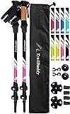 TrailBuddy Lightweight Trekking Poles - 2-pc Pack Adjustable Hiking or Walking Sticks - Strong Aircraft Aluminum - Quick Adjust Flip-Lock - Cork Grip, Padded Strap (Berry Pink)
