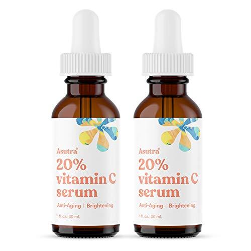 ASUTRA Anti-Aging 20% Vitamin C Serum, 1 fl oz (2pk) | Brighten & Boost Collagen | Helps Fade Sun Spots, Hyperpigmentation, Wrinkle Appearance | Ferulic & Hyaluronic Acid, Vitamin E, Aloe, Jojoba