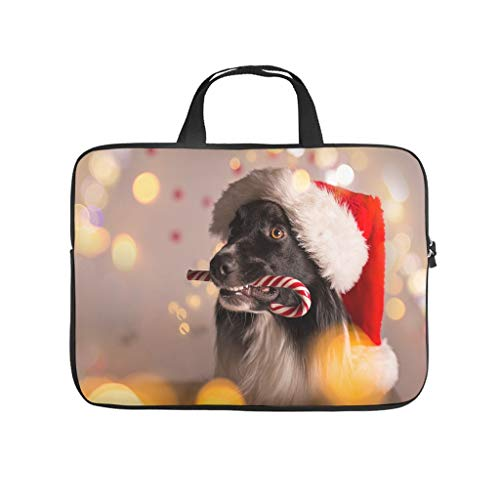 border collie santa hat christmas bokeh dog candy animal Laptop bag Design Laptop Case Bag Colorful Scratch-Resistant Notebook Carrying Case with Portable Handle for Women Men white 15 zoll