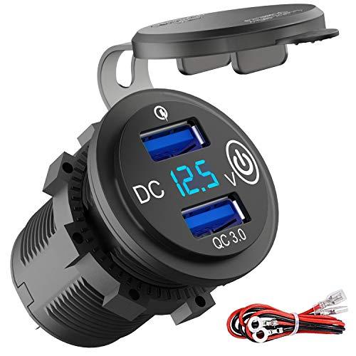 Quick Charge 3.0 USB Steckdose Auto mit Schalter, 12V/24V KFZ Ladegerät USB Einbau Buchse Wasserdicht Zigarettenanzünder Dose mit blau LED Voltmeter Spannungsanzeige für Motorrad Boot LKW Wohnwagen