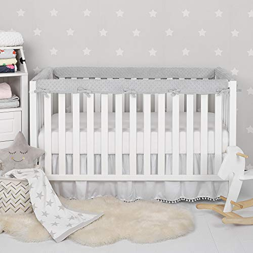 TILLYOU 4-Piece Minky Dot Baby Crib Rail Cover Protector Set from Chewing, Safe Teething Guard Wrap for Standard Cribs, 100% Silky Soft Microfiber Polyester, Fits Side and Front Rails, Pale Grey