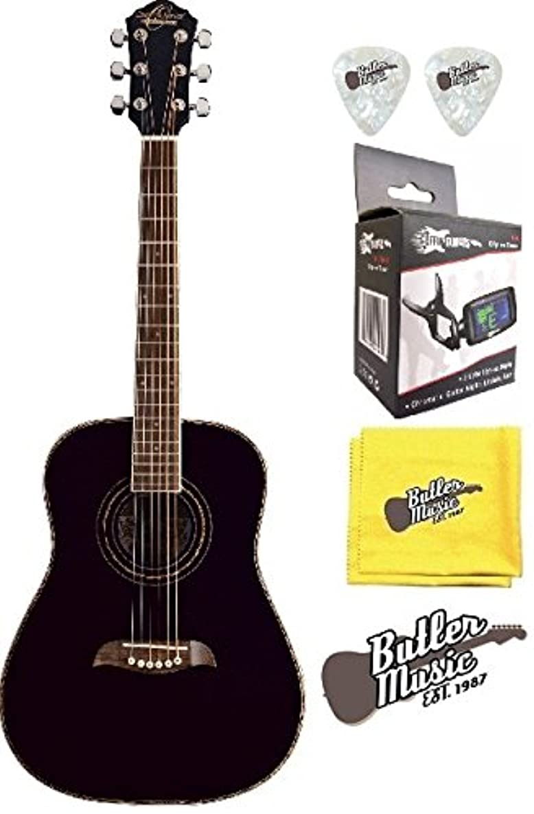 Oscar Schmidt OG1BLH - Black Left Handed 3/4 Size Acoustic Guitar w/Effin Tuner + More