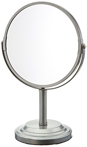 LDR Industries Bathroom Vanity Double Sided Freestanding Pedestal Makeup and Shaving Mirror Regular View and 3X Magnification