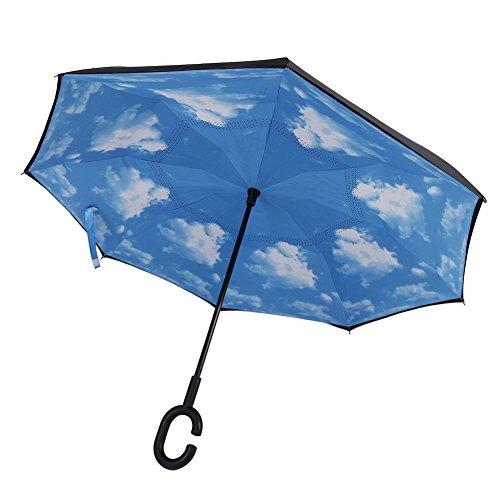 Mani creatrici Double Layer Reverse Umbrella, C ad ansa Gratuito Self Standing Inside Out ombrellone, le migliori compatto da viaggio Ombrellone e uso dell'automobile (cielo blu)