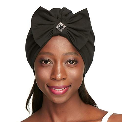 Turbans for Women Silk Satin Lined Sleeping Cotton Black