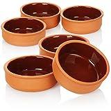 COM-FOUR® Cuenco para tapas 6x, cuencos pequeños planos de barro para horno, cuenco rústico de servir color terracota, tradicional para tapas, cazuela y crema catalana