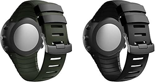 Chainfo Correa de Reloj Compatible con Suunto Core, Impermeable Reemplazo Correas Reloj Silicona Banda (Pattern 1+Pattern 5)