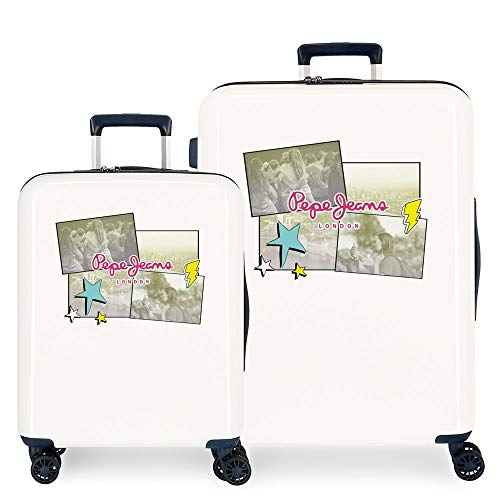 Pepe Jeans Estela Juego de Maletas Blanco 55/70 cms Rígida ABS Cierre TSA Integrado 119,4L 7,1 kgs 4 Ruedas Dobles Equipaje de Mano