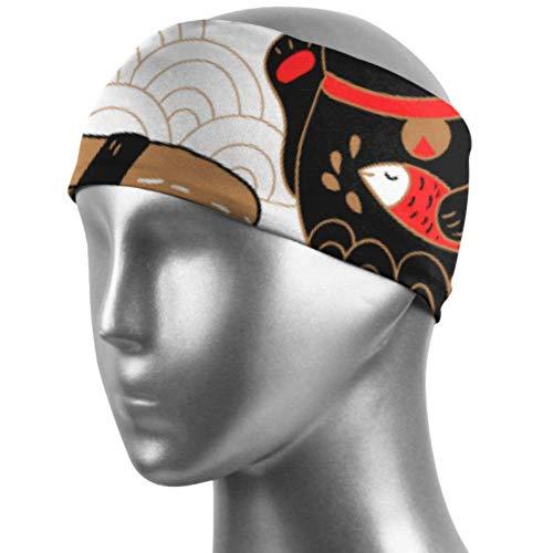 Plosds Frauen Haarband Oriental Style Sushi Katze Laufen Stirnband Für Frauen Unisex Feuchtigkeitstransport rutschfest Für Sport Fitness Workout Gym Yoga Laufen