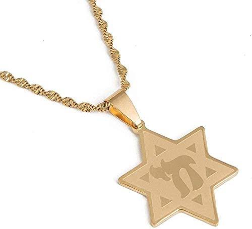 Collar de acero inoxidable de moda con estrella de David con símbolo de Chai, collar con colgante, cadena de estrella judía, collar con colgante de joyería, regalo para mujeres, hombres, niñas, niños