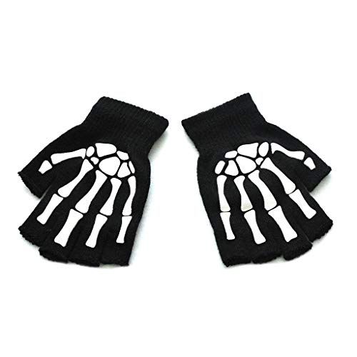 N\A Männer Frauen Erwachsene Halloween Skelett Schädel Halbfinger Handschuhe Glow in The Dark Leuchtend Fingerless Stretch Gestrickt Winter Warme Fäustlinge Cosplay Kostüm-Aisumi