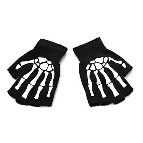 N\A Männer Frauen Erwachsene Halloween Skelett Schädel Halbfinger Handschuhe Glow in The Dark Leuchtend Fingerless Stretch Gestrickt Winter Warme Fäustlinge Cosplay Kostüm-Aisumi