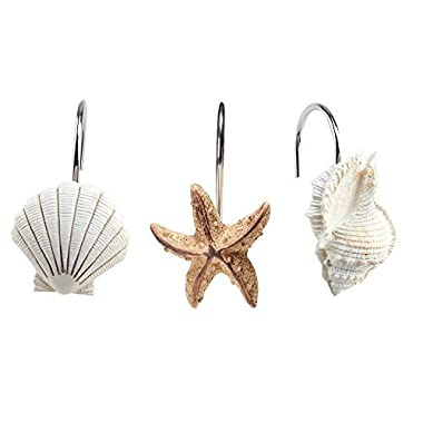 AGPtek® 12 PCS Fashion Decorative Home Bathroom Seashell Shower Curtain Hooks (Seashell: Light Brown; Starfish: Tan; Conch: Light Brown)