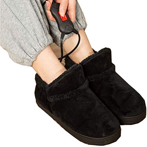 Wärmende Hausschuhe Für Damen 1 Paar Elektrischer Heizschuh Beheizte Plüschschuhe Fußwärmer Für Den Winter - Schwarz