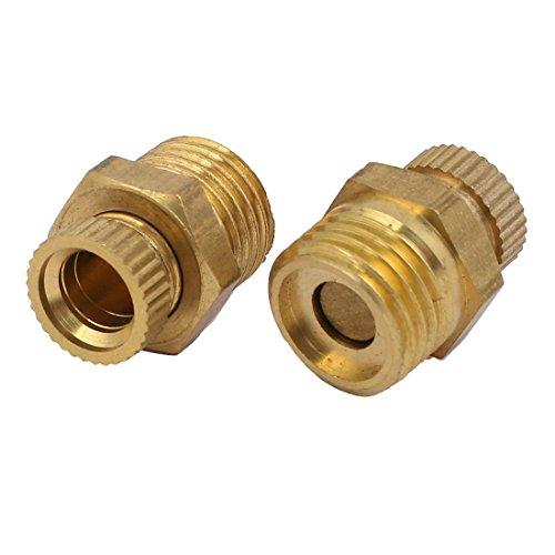 sourcing map 2 Stk Kompressor 1/4 PT Außengewinde Metall Wasser Ablassventil Gold Ton DE de
