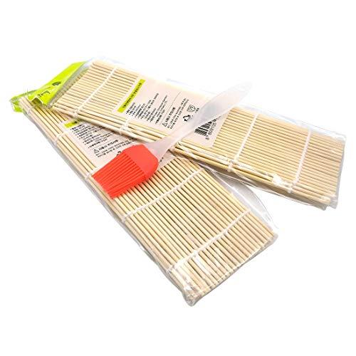 Bamboo Sushi Rolling Mat 2Pcs + Cooking brush 1Pcs (2Pcs Mats)