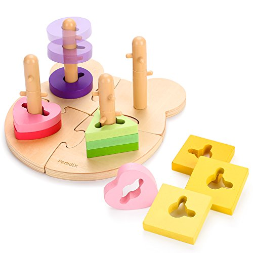 Peradix Wooden Puzzle Toddler Educational Toys Shapes Sorter Sorting and Stacking Baby Toys Preschool Geometric Blocks Stacking Games for Kids