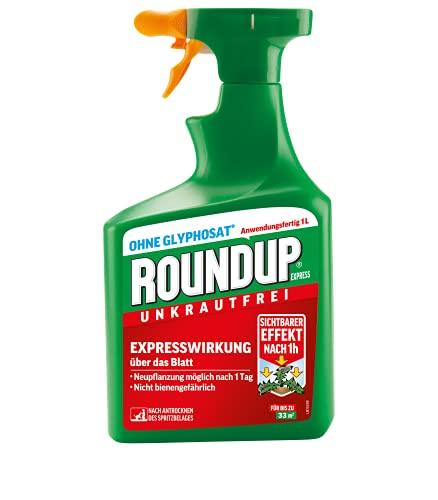 Roundup Express Unkrautfrei, Unkrautvernichter, zur Bekämpfung von Unkräutern, Gräsern und Moos, 1 Liter Sprühflasche