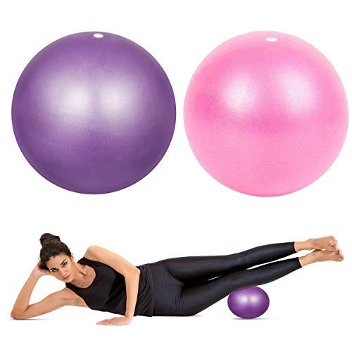 HQdeal 2 Piezas 23cm Pelota de Ejercicio de Pilates Mini Pelota Pilates Balones Yoga, Rosado y Morado
