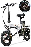 LAZNG Vélo électrique Pliant Vélos électriques for Adultes 14 Pouces 400W 3.0Ah 48V léger E-Bikes avec LED Phares for Hommes Adolescents Fitness Ville Trajets (Couleur : Blanc)
