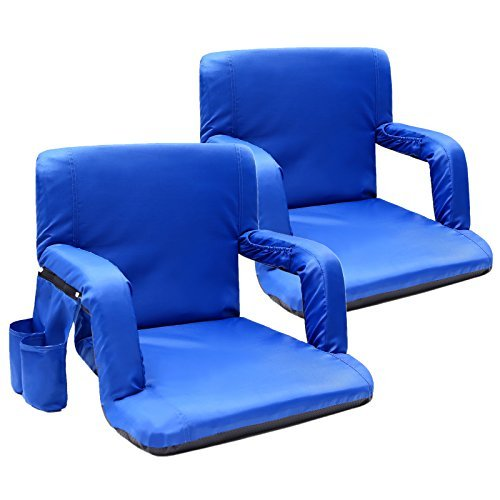 Sportneer Portable Stadium Seat Reclining Chair for Bleachers with Back Supports, Thick Padded Cushion, Pockets and Arm Rests Lightweight Chairs for Sport Events, Beaches, Camping, Picnics 2pack Blue