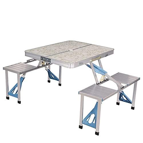 NZBZ Mesas y sillas de esgrima al Aire Libre Una Mesa Cuatro Sillas Portátil Aleación de Aluminio Conectado Mesa Coche Picnic Pequeño Pestaña Pequeño-A