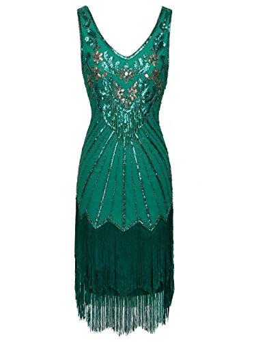FAIRY COUPLE Women's 1920s 30s Flapper Dress Great Gatsby Dress V Neck Beaded Fringed Dress Green M